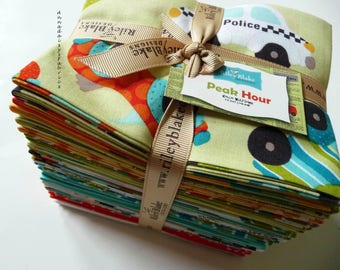 Boys Car Fabric Fat Quarter Bundle, Riley Blake Fabric, Peak Hour, Traffic Fabric Bundle of 25 Fat Quarters, Cotton Quilt Fabric Bundle