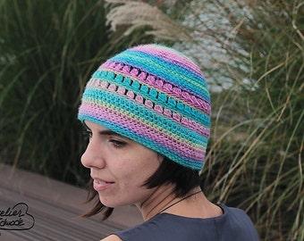 "Crochet pattern: ""Never forget"" beanie. Crochet hat pattern - PDF file in English"