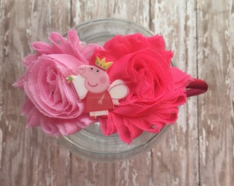 FREE SHIPPING - Peppa Pig Headband - Peppa Pig Hair Bow - Peppa Pig Bow - Peppa Pig Party - Peppa Pig Outfit - Peppa Birthday - Peppa Party