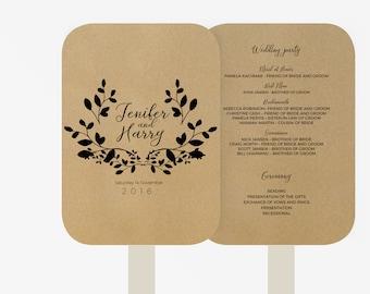 Wedding Fan Program Template | Editable Word template | Instant Download  | DIY You print | Black Leaves