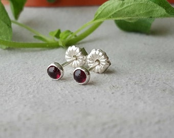 Garnet earrings, 3 mm, red earrings, garnet, minimalist, tiny earrings, garnet studs, red studs, pink studs, gemstone earrings, tiny