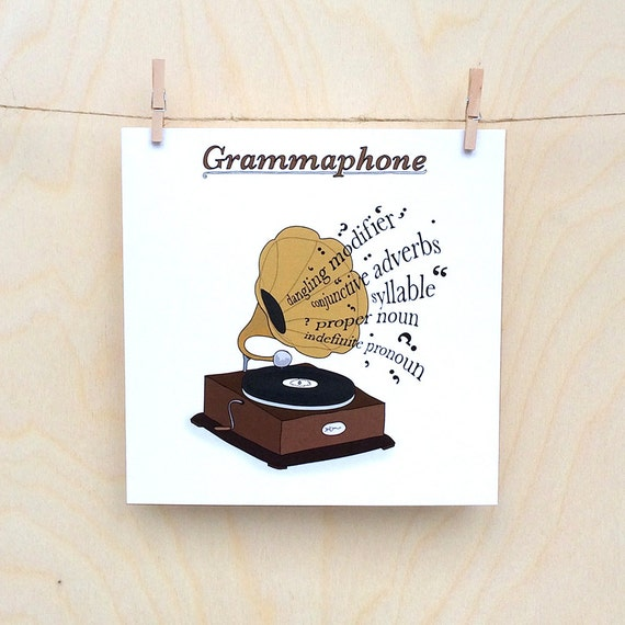 Funny Gramophone Card, Funny card, funny greetings card, funny Celebration card, funny birthday card.