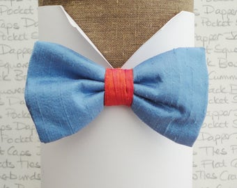 Bow ties for men, Blue silk bow tie, Gulf colours silk bow tie