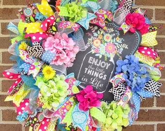Summer Wreath, Spring Wreath, Summer Door Wreath, Spring Door Wreath,Enjoy the Simple Things in Life Wreath, Mesh Wreath, Door Wreath