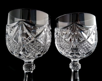 60s Crystal Wine Glasses Goblets, Set of 2 / Mid Century Bar Cart