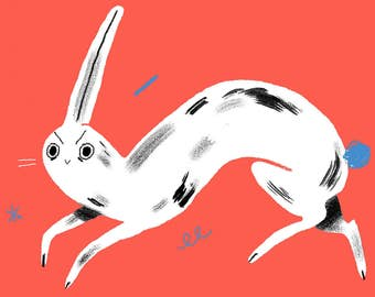 Fluorescent Pink Rabbit A4 Limited Edition Risograph Print