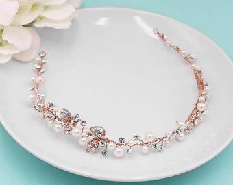Rose Gold Wedding Hair Vine, Bridal Wedding Headpiece Vine, Flexible Vine Handwired Crystal Vine, Wedding Hair Accessories, Vine 505892725