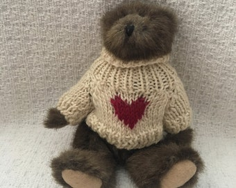 Boyds Bear Jointed Plush Dark Brown Bear in Sweater w Heart, Small Ears, No Tags, 1990s, Jointed Brown Teddy Bear, Boyds