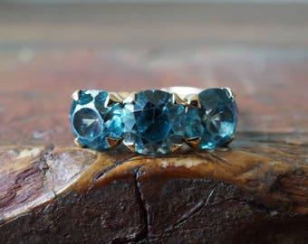 1970s 14K Vintage Statement 4 CTW Three Stone Blue Zircon Ring in Yellow Gold
