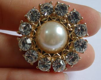 2 large crystal buttons pearl rhinestone diamante upholstery gold UK LP-01