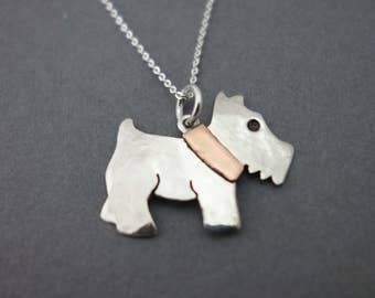 dog necklace, scottish terrier necklace, silver scottie necklace, westie necklace, mother's day present
