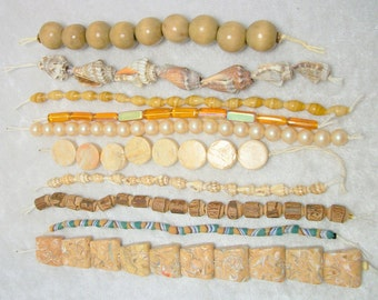 DESTASH Vintage Bead Lot in Natural Neutrals - Shell Glass Wood Pearl