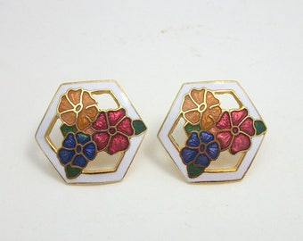 Floral Hexagonal Cloisonne Enamel Earrings - Vintage 70s