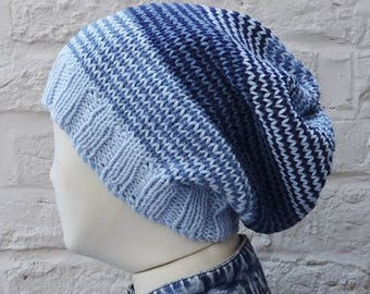 Large Denim Blues Slouchy Hat, Lightweight Summer Beanie, Cotton and Acrylic, READY TO SHIP