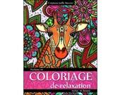 Pouch #11-10 designs - relaxation coloring - giraffe, Blue Jay, Tahiti, cocktails, raccoon, carp, flowers, mandala
