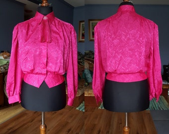 Vintage pink blouse / Long sleeve blouse / Size S-M  / 80s
