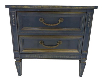 SALE! Org 595.00 French Style Nightstand Newly Painted in Gray-blue Over Mustard Lightly Distress