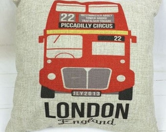 London England Piccadilly Circus Bus - Pillow Cover