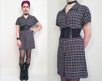 90s Clothing Floral Dress Vintage 90s Dress 90s Grunge Dress Riotgrrl Mini Dress Black Floral Print Button Up Dress Vintage Shirt Dress Sz M