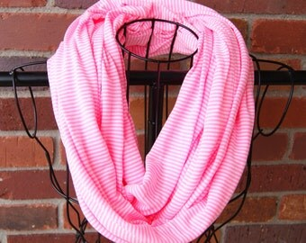 Neon Pink and White Striped Knit Infinity Scarf