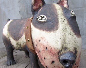 Ceramic Bull terrier with a leather collar