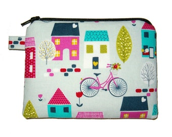 Sweet Country Village Zipper Coin Purse - Padded Pouch - small Coin Purse - Bicycle Purse - Change Purse - Girl's Purse