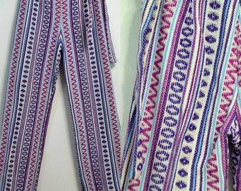 Vintage 70s Knit Bellbottoms / vtg 1970s Hippie Pants / Boho Bohemian Bottoms / Wide Leg Pants / Women's Pants Jeans / Small S Medium M
