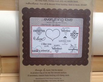 EVERYTHING LOVE Unity Stamp Company red rubber unmounted cling stamp set Unused