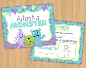 INSTANT DOWNLOAD: Adopt a Monster Printable Party Sign and Certificate