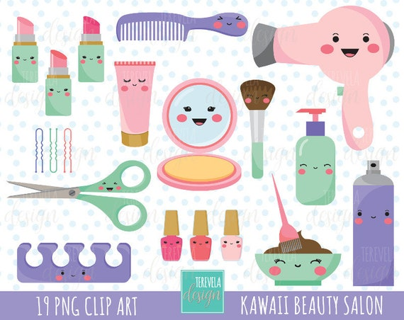 80 SALE Kawaii Salon Clipart BEAUTY SALON Commercial Use Hair Care Cosmetology Cute Graphics Make Up From Tereveladesign On Etsy
