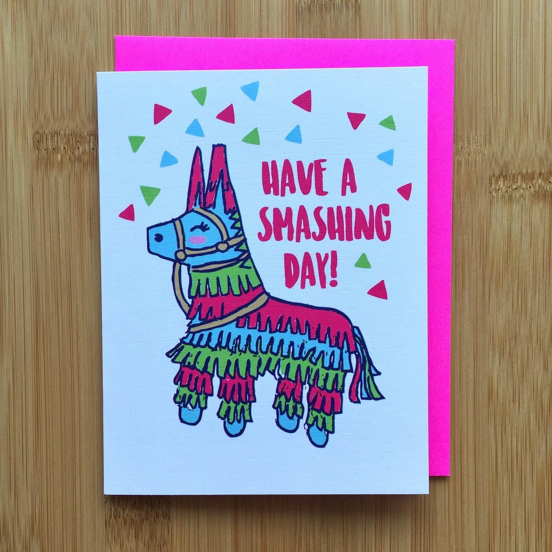 Pinata Birthday Card Handmade Hope Your Birthday is a Hit A2 Cute