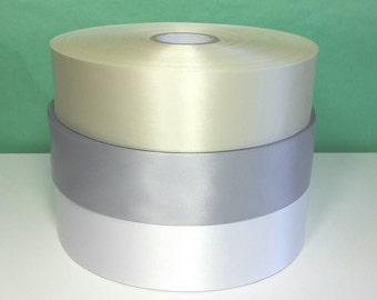 200 yards x 1.75 inch Cream, Pewter Gray, or White Satin Ribbon for Sewing, Decor, Wedding, Supply, Thermal Printing