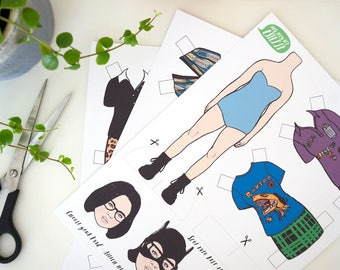 Ghost World Enid Paper Doll // dress up doll, daniel clowes, geek gift, DIY