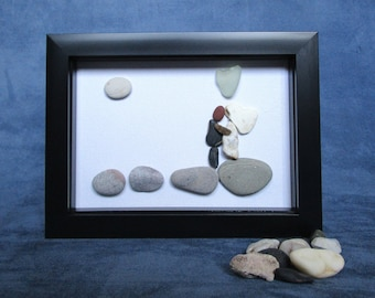 Art Canvas - Wedding Gift - Handmade - Wall Art - Pebble Art - Marriage - Gift Idea - Hand Crafted - Upcycled - Nautical - Reclaimed