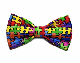 Autism Awareness Dog bow tie, Cat bow tie, pet bow tie, collar bow tie, wedding bow tie