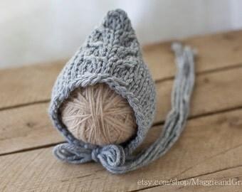 Dory Fishtail Newborn Bonnet, Cable Newborn Bonnet, Pixie Newborn Bonnet, Knit Baby Hat, Newborn Hat, Cable Bonnet, Bonnet