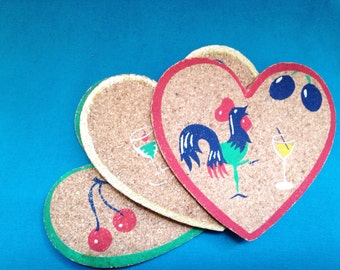 1950s cork harns painted coasters x3