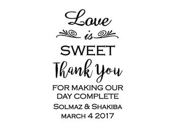 Custom Wedding Stamp / Wedding Favours / Love is Sweet Stamp / Wedding Tags