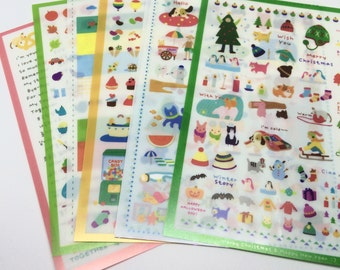 Set of 7 Cute Kawaii Stickers for Scrapbooking and Planners