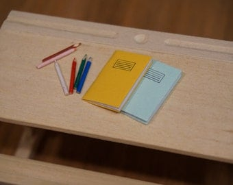 Dolls House Miniature Exercise Books & Colouring Pencils