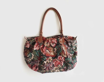 SALE vintage floral duffle bag