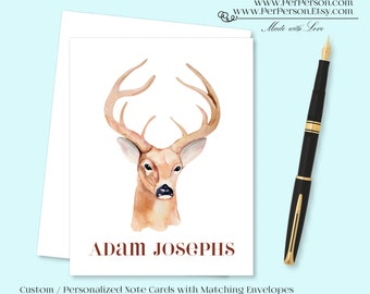 Free Ship!  Set of 12 Personalized / Custom Notecards, Boxed, Blank Inside, Deer, Horns, Rack, Monogram, Name
