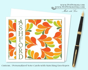 Free Ship!  Set of 12 Personalized / Custom Notecards, Boxed, Blank Inside, Flower, Floral, Leaf, Orange, Green, Monogram, Name, Initials