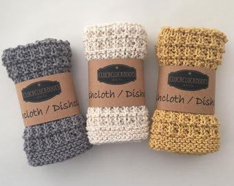 Knitted Washcloth / Dishcloth Set - Set of 3 * Soft Yellow, Light Grey and Natural