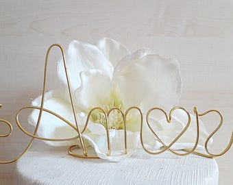 AMOR wedding cake topper, wedding decoration, wire cake topper, anniversari topper