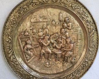 Embossed gold copper wall decor early XXth scene Tavern 65 cm