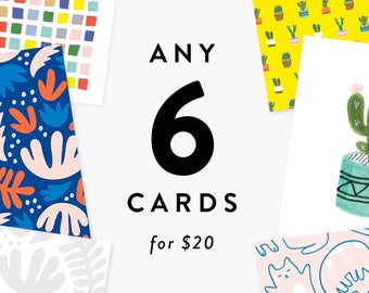 Pick Any 6 Cards for 20 Dollars