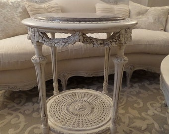Stunning Antique French Louis Roses Swags Details Marble Top Cane Side Table