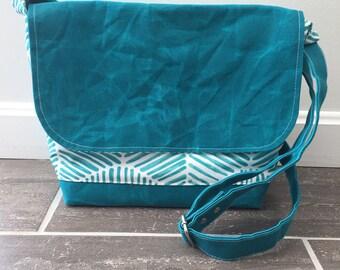 Waxed canvas bag, messenger bag, crossbody bag, service bag,  ministry bag, teal messenger
