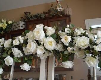 Wedding Arch, Chuppah Arch,  Silk Flower Arch, Wedding table backdrop, Silk Flower Backdrop, Silk Wedding Arch, White Arch, White Peony Arch